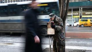 Homeless man in New York, 4 Feb 2015