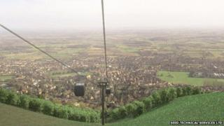 Artist's impression of proposed cable car on the Malvern Hills