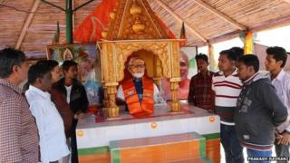 Narendra Modi idol at a temple in Gujarat