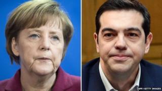 Angela Merkel (l) and Alexis Tsipras (r)