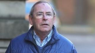 Fred Talbot with an injury on his head after falling while leaving the witness box