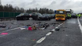 Some of the cars involved in the M40 crash in Oxfordshire