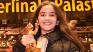 Hana Saeidi holds the Golden Bear award in Berlin, Germany, 14 February 2015