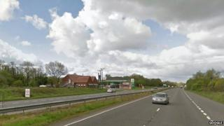 Site of the crash on the A11
