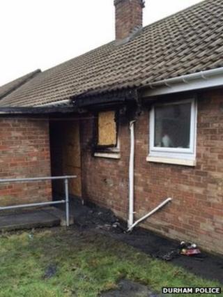 Smoke damaged house