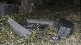 Vandalised Jewish gravestones in Sarre-Union, Bas-Rhin, France (15 Feb)