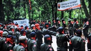 Picture taken from a video posted on the National Liberation Front website on 7 January, 2015, showing members of the ELN on the 50th anniversary of their foundation