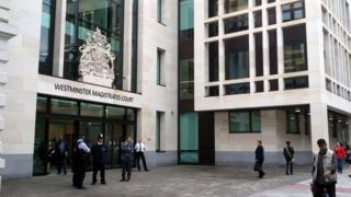Outside Westminster Magistrates' Court