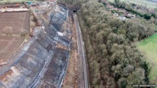 Aerial view of the landslide