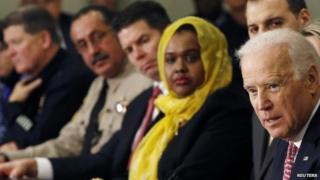 US Vice President Joe Biden (right) attends a conference on countering violent extremism at the White House in Washington (17 February 2015)