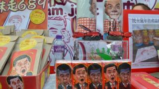 CY Leung paraphernalia at the New Year market