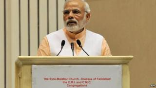 Mr Modi was criticised earlier for not speaking against religious intolerance