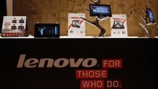 Lenovo tablets and mobiles on display