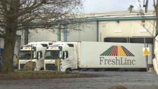 Lorries at Yorkshire Fresh Fruit factory