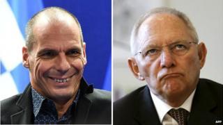 Greek Finance Minister Yanis Varoufakis, left, and German Finance Minister Wolfgang Schaeuble