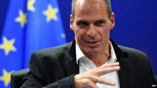 Greek Finance Minister Yanis Varoufakis holds a press conference after a Eurogroup finance ministers meeting at the European Council headquarters in Brussels - 20 February 2015
