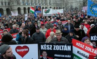 Protesters back Zoltan Kesz at a rally in Budapest (1 Feb)