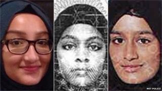 Kadiza Sultana, Amira Abase and Shamima Begum (l-r)