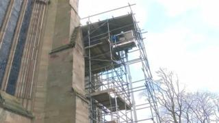 Scaffolding on Worcester Cathedral to remove rare books