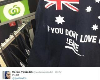 A vest with an Australian flag and the slogan 'If you don't love it, leave'