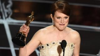 Julianne Moore gives her acceptance speech after winning Best Actress at the Oscars