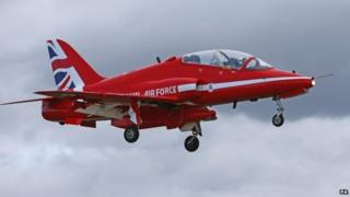 Red Arrows jet with new Union flag tail fin design