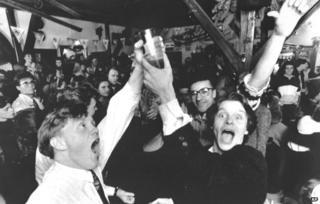 Icelanders celebrate the legalisation of beer, 1 March 1989