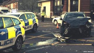 The police car involved in the collision was responding to an emergency call, Suffolk Police say