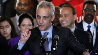 Chicago Mayor Rahm Emanuel talks to supporters Tuesday, Feb. 24, 2015, in Chicago