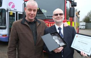 Mitchell Cook (l) with hero bus driver Andy Waterman