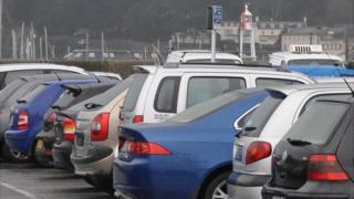 Cars parked in North Beach, St Peter Port, Guernsey