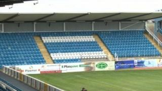 The news stands and seats at Featherstone Rovers