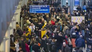 Eurostar passengers queuing at St Pancras