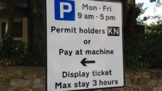 Sign for residents parking zone