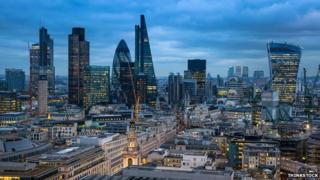 City of London, business and banking aria in the sunset