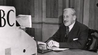 Lord Samuel in the first TV election broadcast