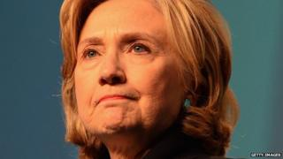Hillary Clinton frowns.