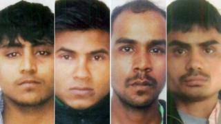 Composite of Delhi Police hand out photos of Vinay Sharma , Pawan Gupta, Mukesh Singh, Akshay Thakur convicted for the notorious December 2012 gang rape and murder of a female student on a bus in the Indian capital, Delhi.