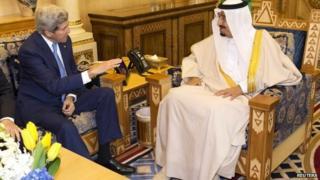 John Kerry meets the Saudi king, Salman bin Abdulaziz al-Saud