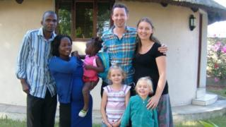 Becky, Jonny, Gracie-Anna and Honour Wakely with friends on a previous visit to Mozambique