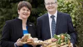 Arlene Foster pictured promoting products from the NI agri-food industry