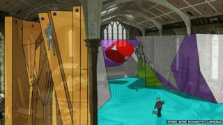 Graphic of planned climbing wall