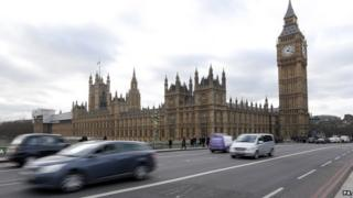 The Palace of Westminster and Houses of Parliament, London.