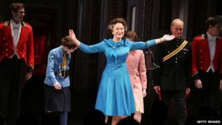 Dame Helen Mirren on the stage of New York's Gerald Schoenfeld Theatre