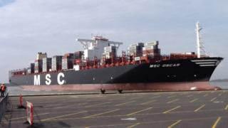 The MSC Oscar in Felixstowe