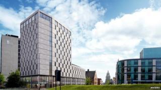 Artists impression of Hilton Hotel Leeds Arena