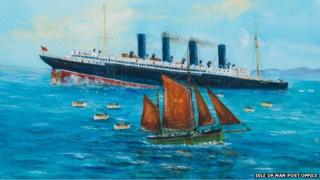 A painting of the Lusitania with the Wanderer, by John Halsall