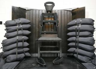 A file photo from 2010 shows the firing squad execution chamber at the Utah State Prison in Draper, Utah