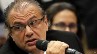 Former manager of Services Department of Brazilian state oil company Petrobras Pedro Barusco speaks during a hearing part of a corruption case at Brazilian Congress in Brasilia, Brazil, 10 March 2015