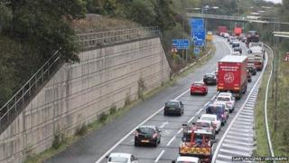 queuing traffic approaching the Orrell Interchange